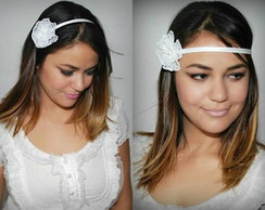 Headband branco c/ flor renda