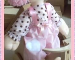 Boneca rosa com po� marrom