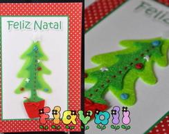 Cart�o de Natal com aplique em feltro