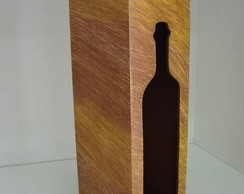 Caixa vinho em mdf mesclada mostarda