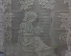 cortina de croch� fil� em barbante cru