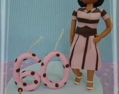 Topo de bolo marrom e rosa