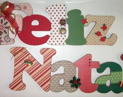 Feliz Natal em MDF e scrap