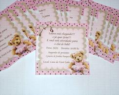 Convite ursa bailarina marrom e rosa