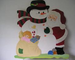 Painel de Boneco de Neve e Noel