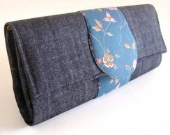Carteira revestida com jeans e algod�o
