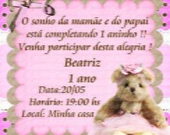 Convite ursa marrom e rosa