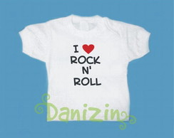 T-Shirt Beb� e Infantil I LOVE ROCK