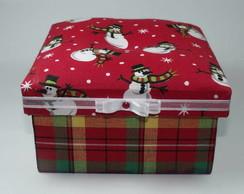 NATAL-Caixa vermelha com estampa natalina