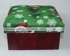 Caixa tecido vermelha e verde - NATAL