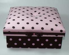 Caixa tecido po� marrom e rosa