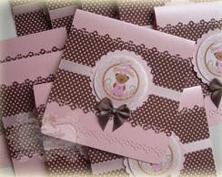 Convite Ursa Rosa e Marrom Floral