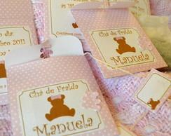 Convite sach� de ch� urso rosa bolinhas