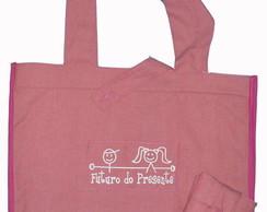 Ecobag aplicada tecido PET rosa
