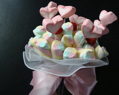 Buqu� de marshmallows cora��o
