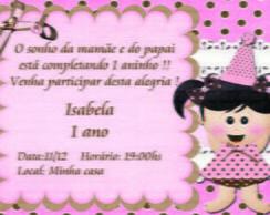 Convite marrom e rosa boneca