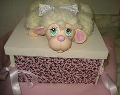 "caixa decorada ""pel�cia com biscuit"