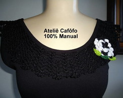 Camiseta customizada com crochet