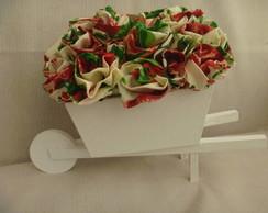 carriola para centro mesa flor em tecido
