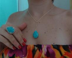 Conjunto colar e anel pedra azul