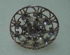 Anel folheado em prata e cristais 40%OFF