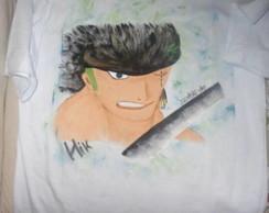 Camiseta - Zoro(one piece) arte a m�o
