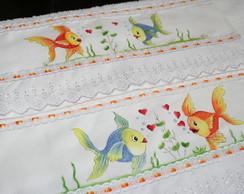 Jogo de toalhas pintado a m�o