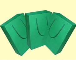 Sacola de papel verde 15x24x7 cm