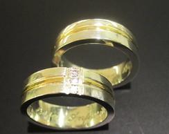Alian�a Ouro 18k com Diamantes