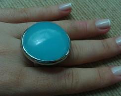 Anel prata com pedra azul