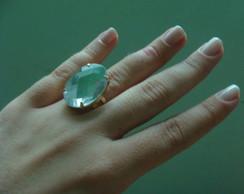 Anel com Pedra transparente espelhada