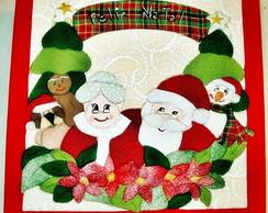 Caixa em Patch na madeira - Fam�lia Noel