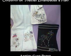 Conjunto de Toalhas com desenho de gatos