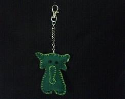 chaveiro elefante verde em feltro