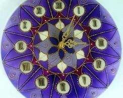 rel�gio mandala vitral flor violeta