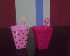 Copinhos marrom e rosa flor