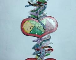 Penduricalho cora��es de patchwork