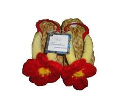 Sand�lia com flor de croch� n�19