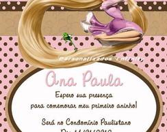 Convite Rapunzel Enrolados marrom e rosa