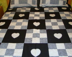 Colcha Cama Casal Patchwork - Prt/Bco