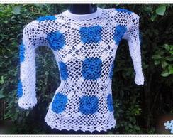 Blusa de Croch� Branca e Azul