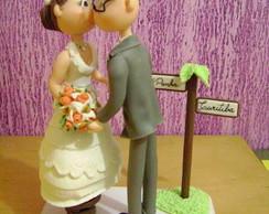 topo de bolo noiva no banquinho