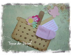Convite Cestinha de Flores - PICNIC +TAG