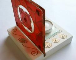 Lumin�ria vitral Vermelho