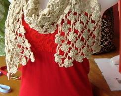 Cachecol de croch� flores branco