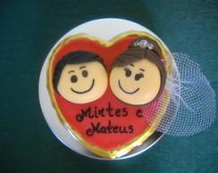 Lembran�a casamento latinha com biscuit