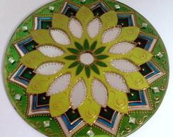Espelho Mandala Vitral Verde