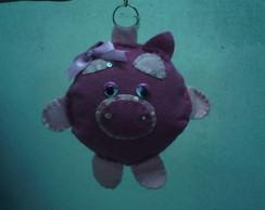 chaveiro porquinha em feltro