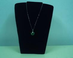 colar cora��o cristal verde