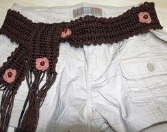 Cinto  em algod�o com flores em croch�